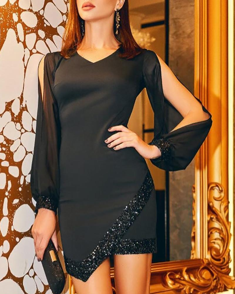 chicme / Cold Shoulder Asymmetrical Sequin Dress