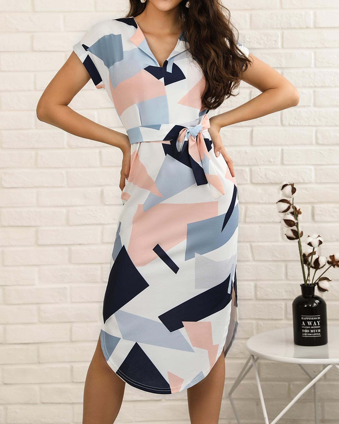 Geo Print Tie Waist Curved Hem Casual Dress фото