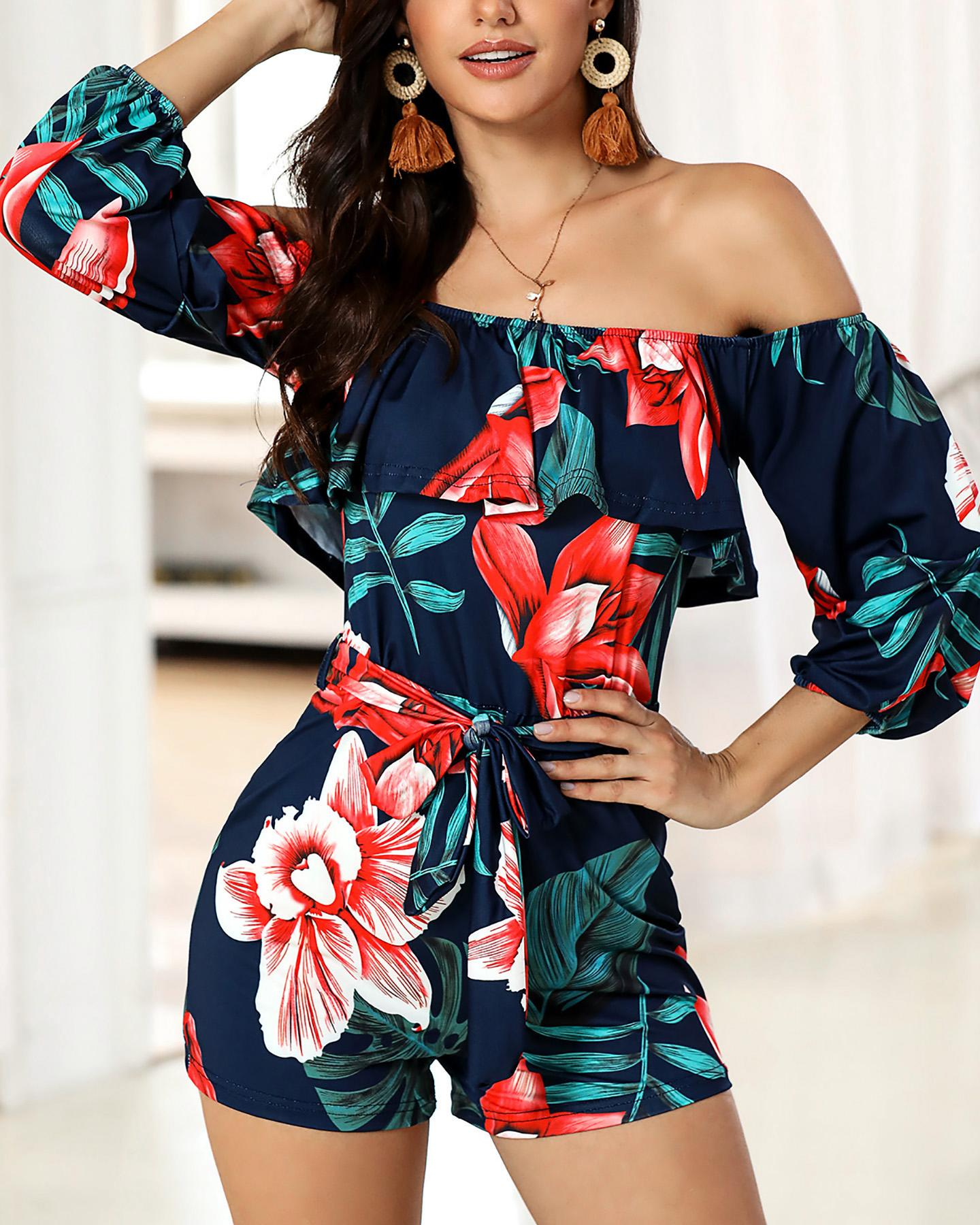 Tropical Print Belted Casual Romper фото