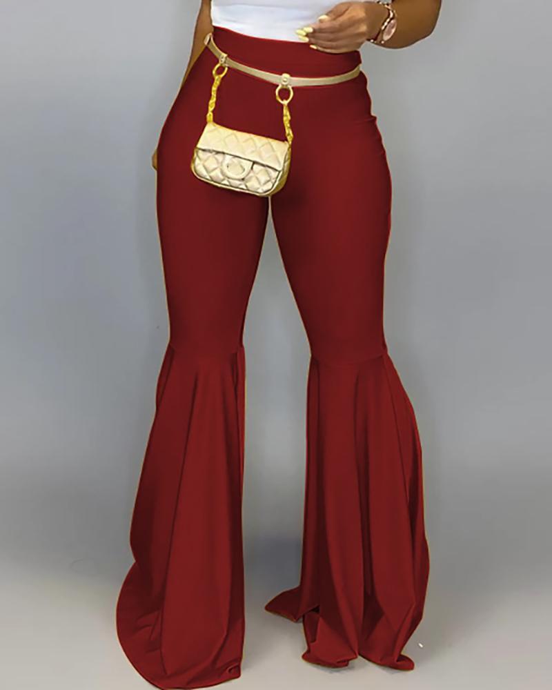 boutiquefeel / Pantalones de PU sólidos con cintura alta y campana