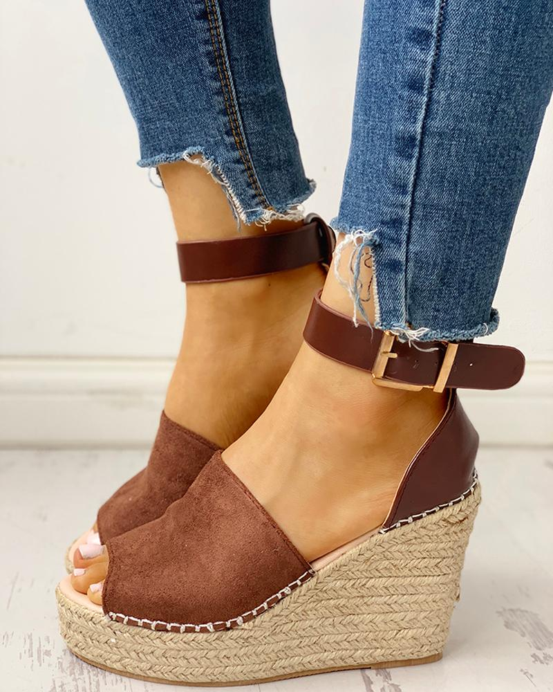 chicme / Tornozelo Buckled Espadrille Wedge Sandals