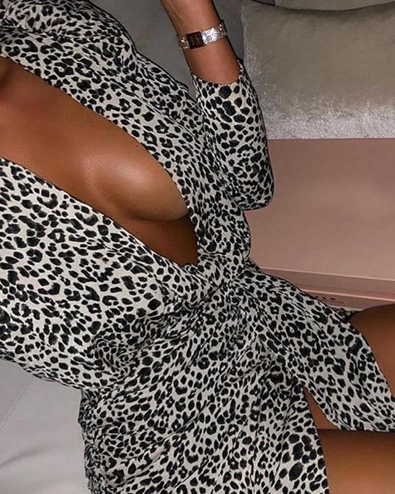 Deep V Tie Waist Leopard Dress фото