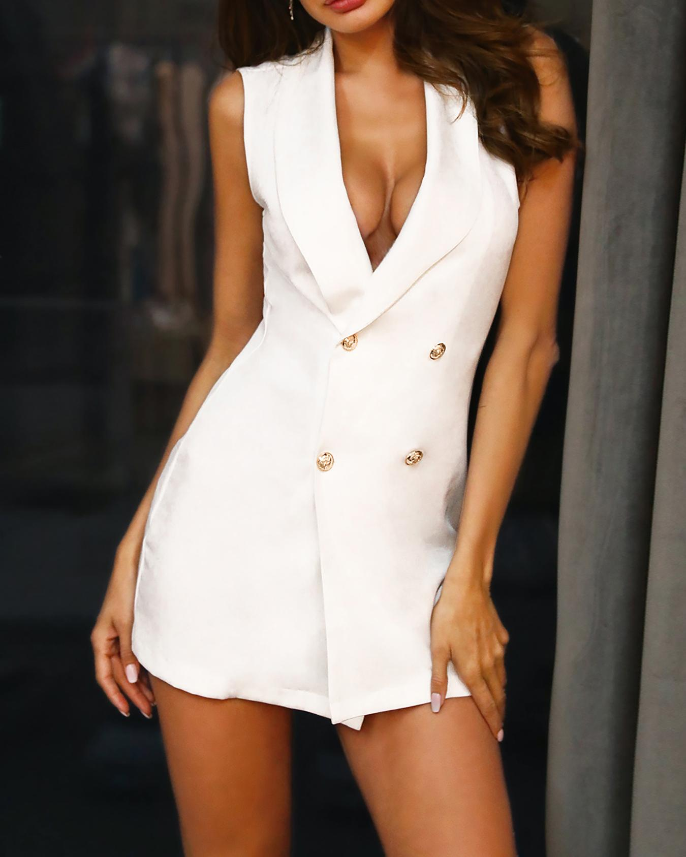 chicme / Double Breasted Mini Blazer Dress