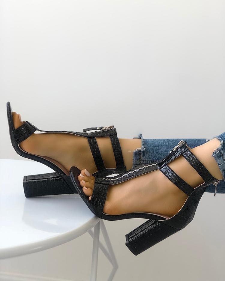 boutiquefeel / Zipper oco Out Peep Toe robusto sandálias de salto