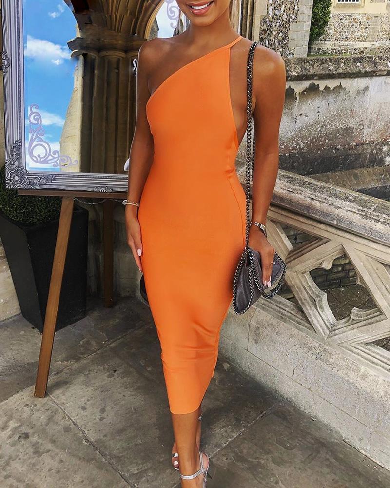 Solid Asymmetrical Neck Bodycon Dress фото