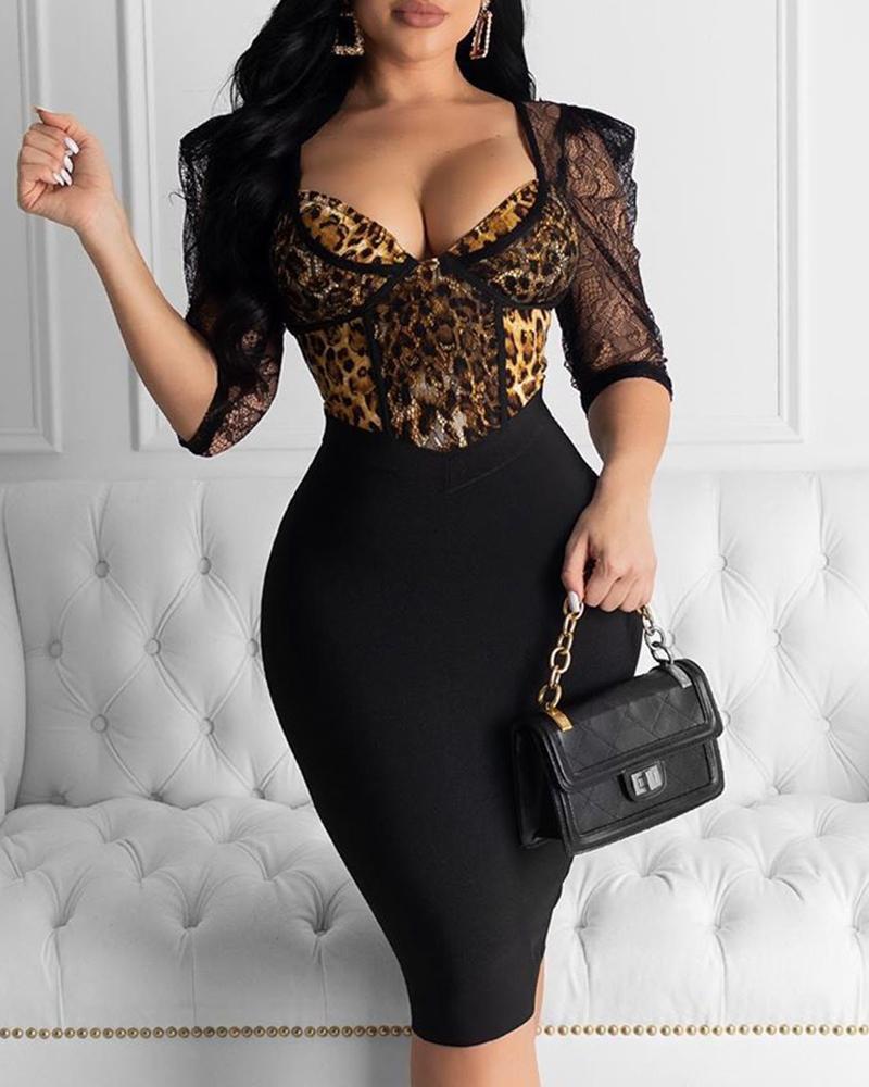 chicme / Rendas leopardo cintura apertada vestido bodycon