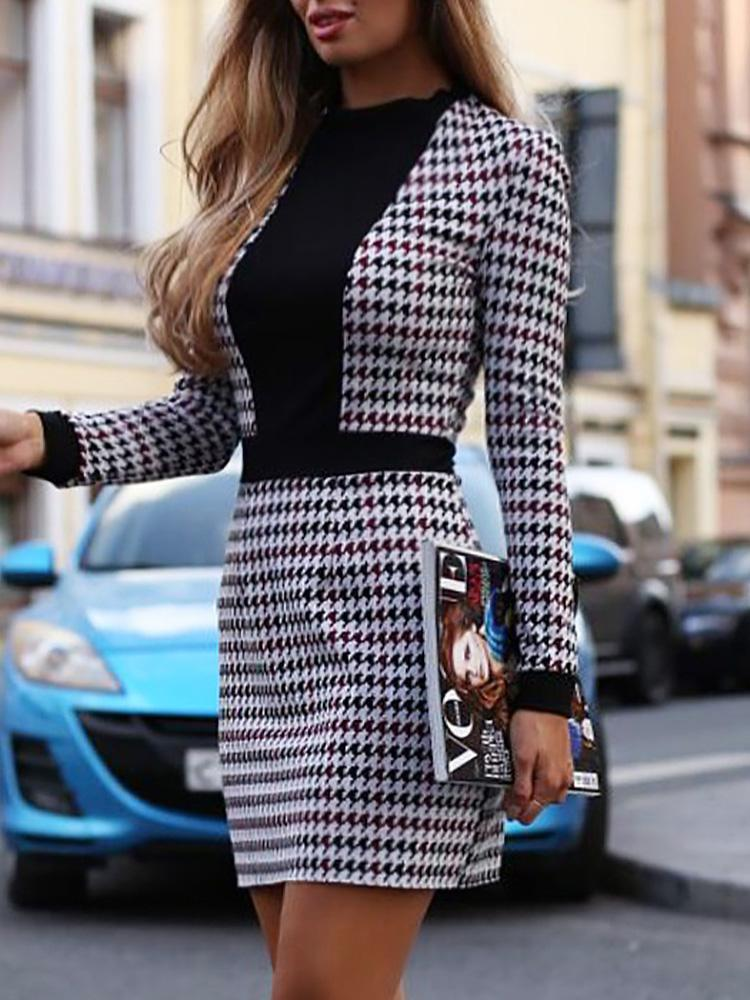 chicme / Houndstooth Insert Tweed sheath Dress