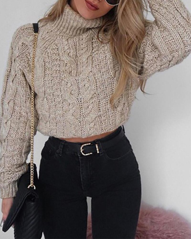 Solid High Neck Cut-out Sweaters фото