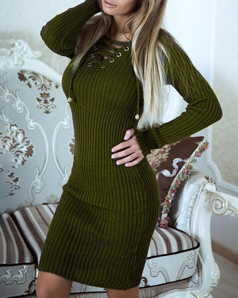 Solid Eyelet Lace-up Ribbed Bodycon Dress, Green