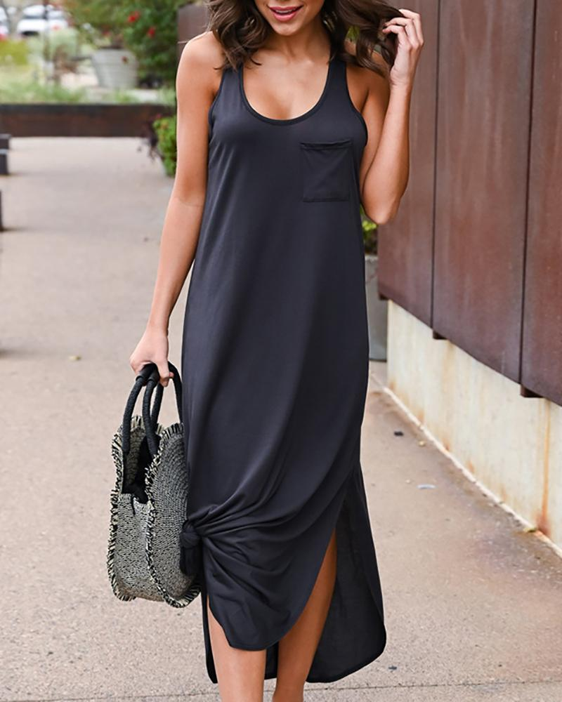 chicme / Side Slit Irregular Backless Vest Vestido De Bolso