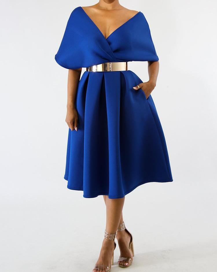 Solid Zipper Back Batwing Sleeve Pleated Dress