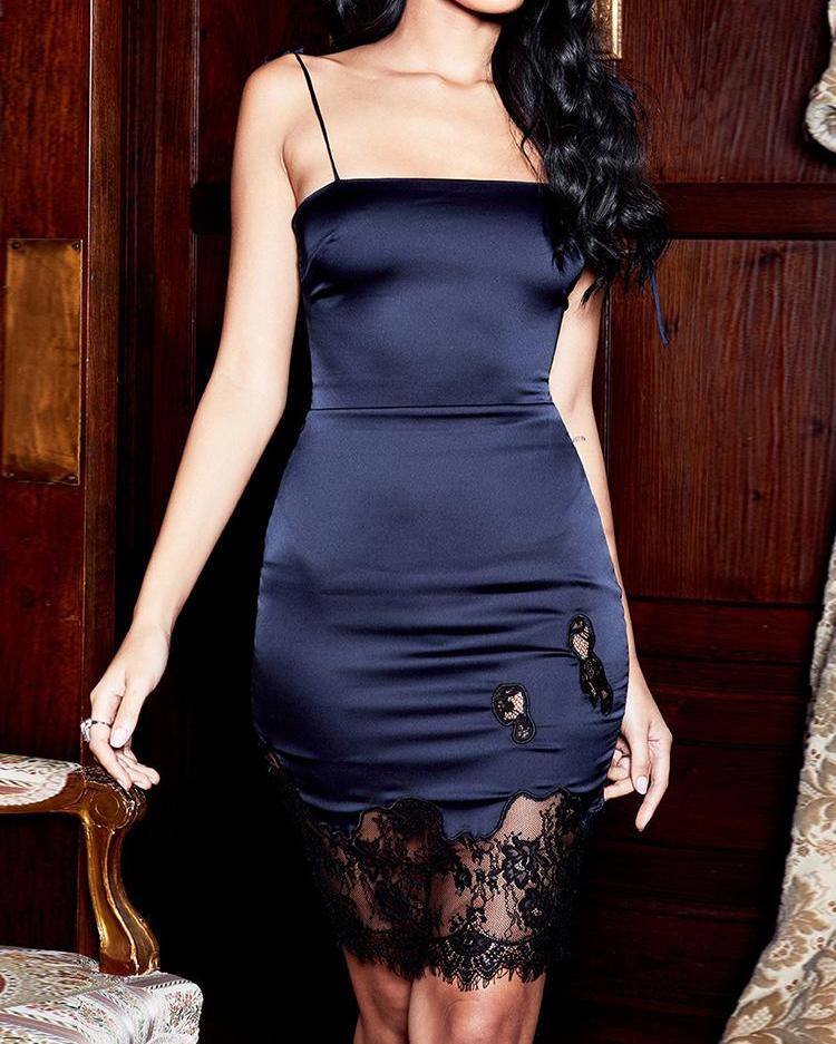 Spaghetti Strap Eyelash Lace Insert Dress фото