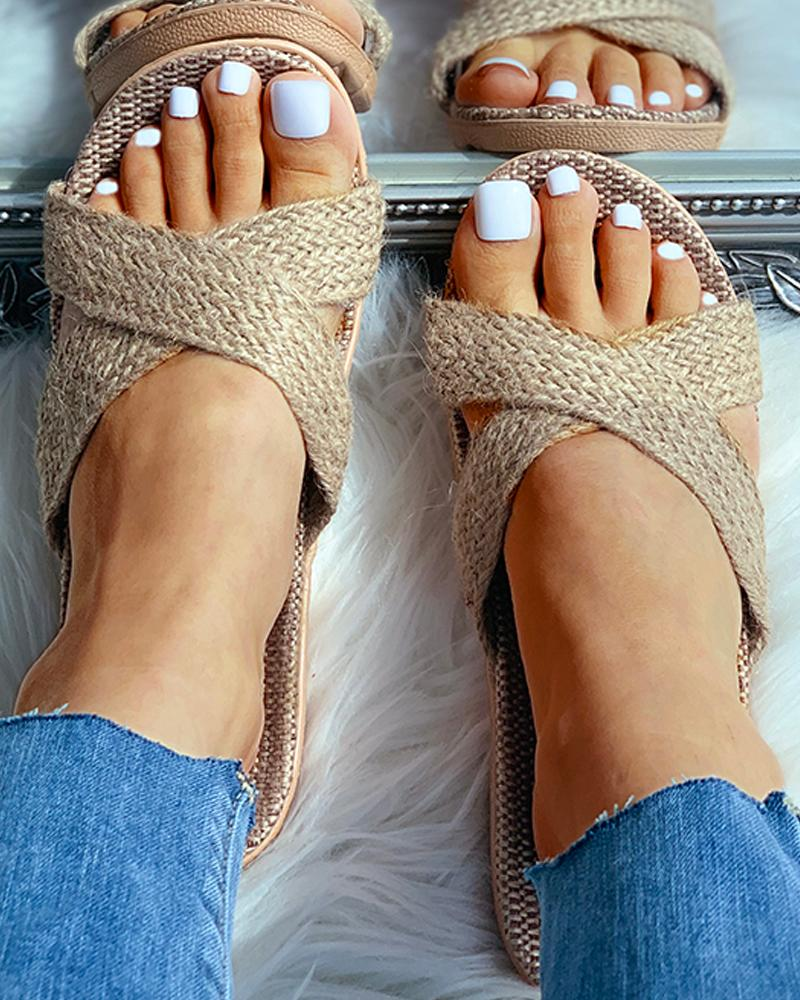 Woven Flax Cut Out Flat Sandals фото