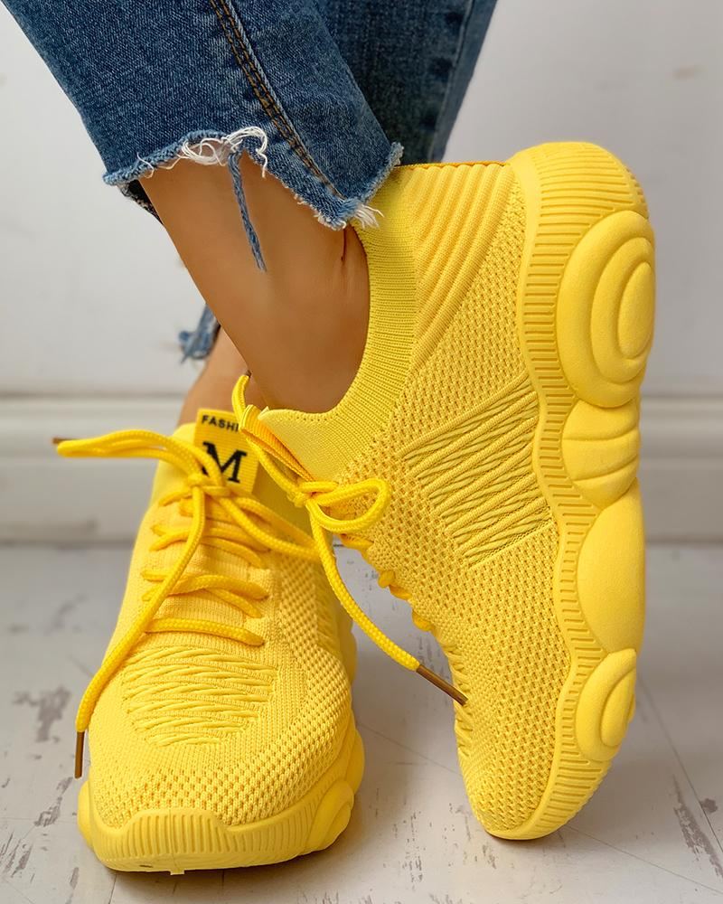 Knitted Breathable Lace-Up Yeezy Sneakers фото