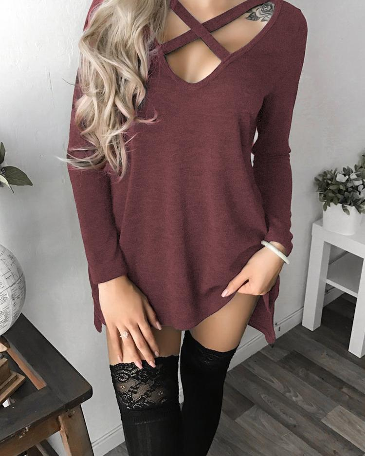 V Neck Hollow Out Long Sleeve Casual Dress