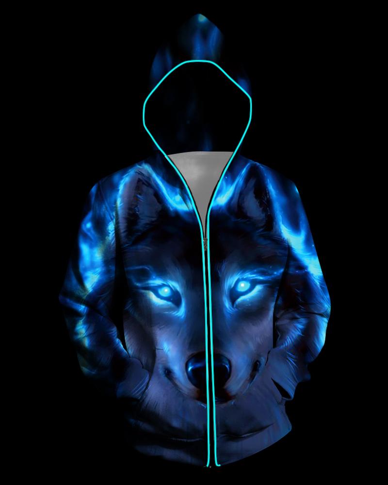 3D Light Up Hooded Wolf Print Zipper Battery Powered Jacket фото