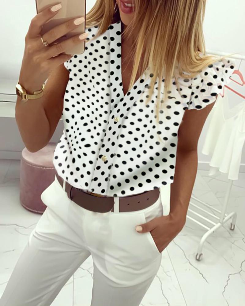 chicme / Dot Imprimir Flutter Sleeve Blusa Casual