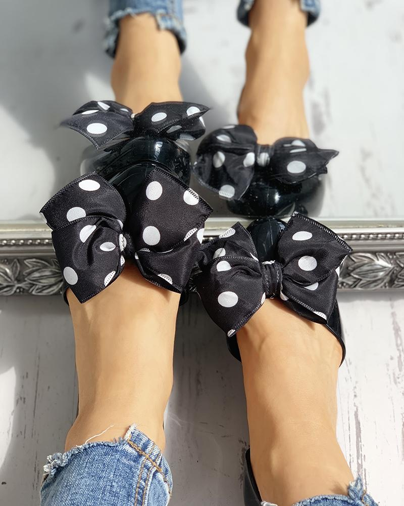 Dot Bowknot Embellished Casual Flat Shoes