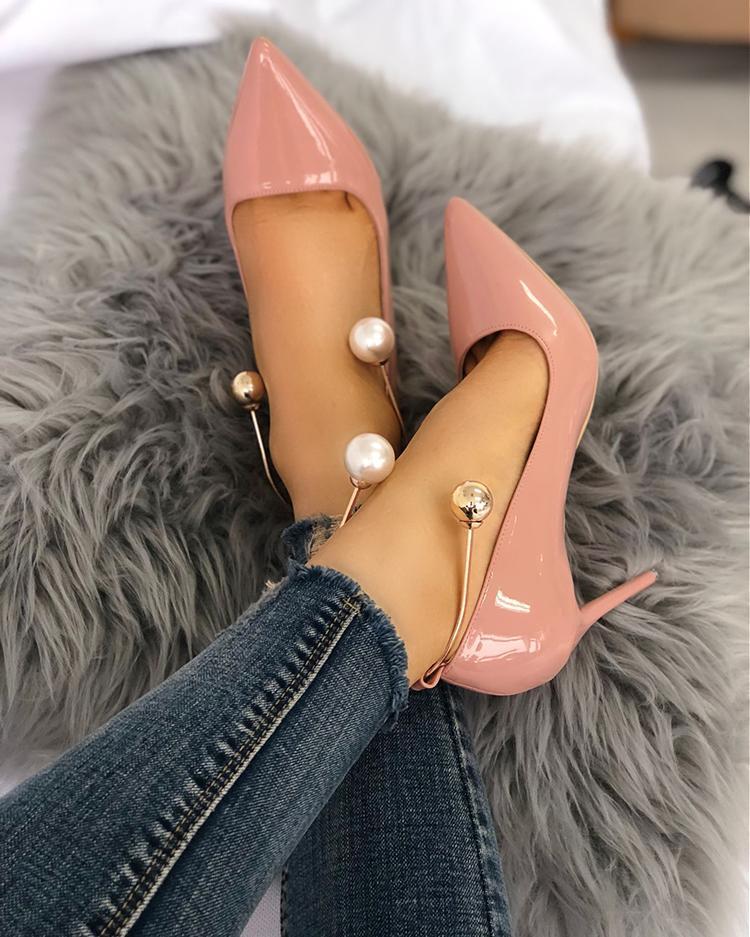Stylish Beading Decorated Pointed Toe Thin Pumps