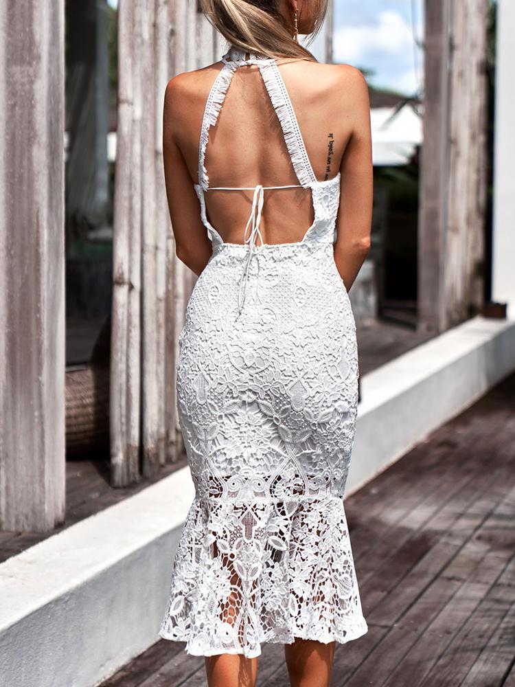 Crochet Lace Halter Backless Fishtail Midi Dress