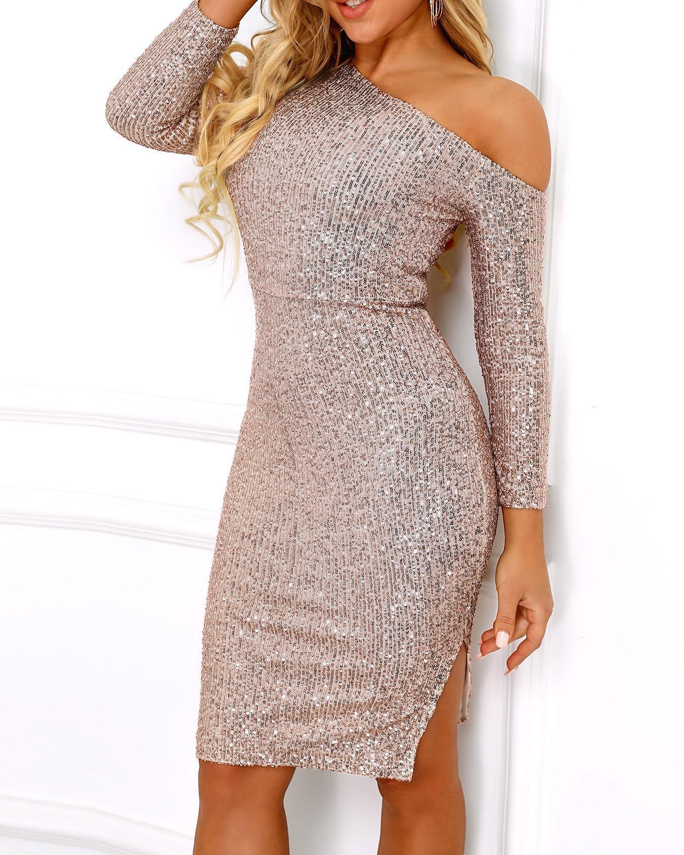 Skew Neck Sequin Party Dress