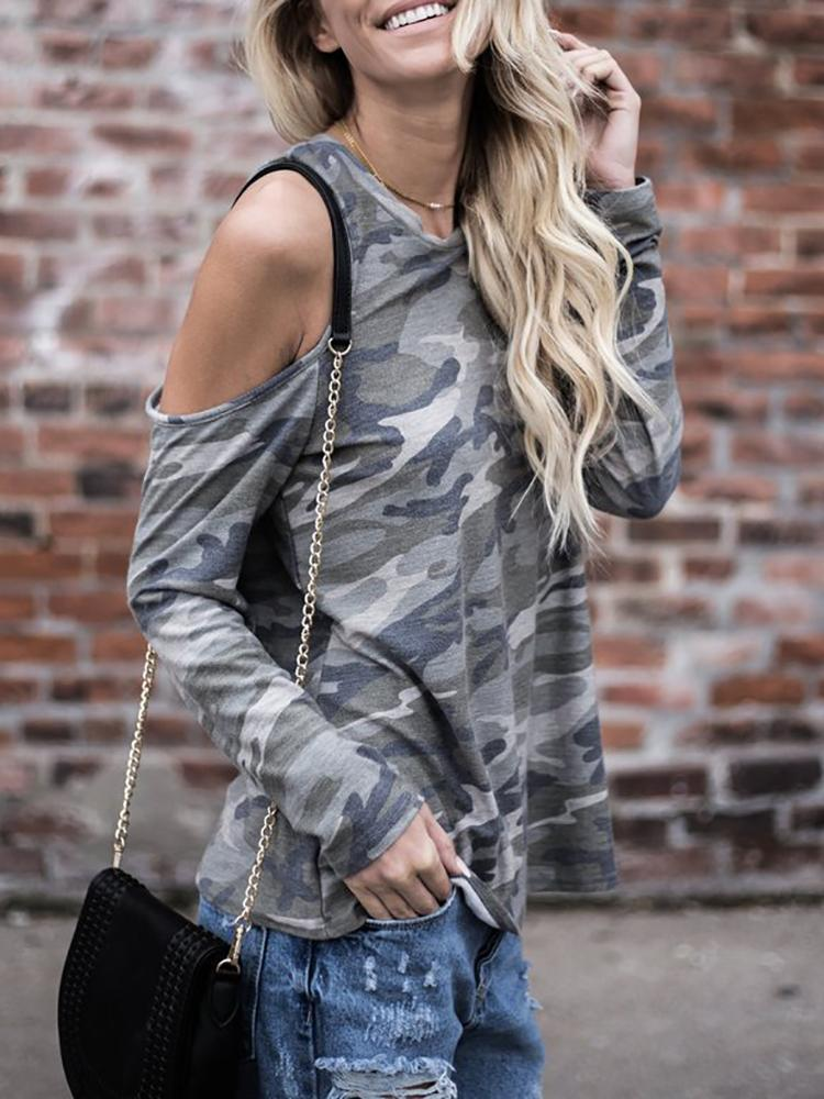 Camouflage Print Cold Shoulder Casual Blouse