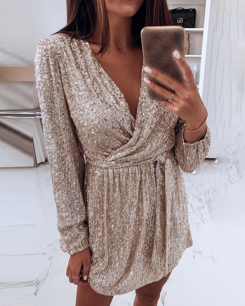 Sequin V-Neck Long Sleeve Wrap Dress фото