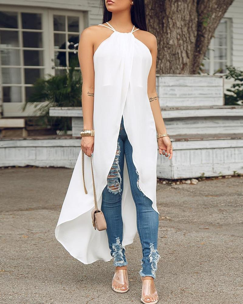 Summer Halter Sleeveless Solid Color Long Irregular Tops