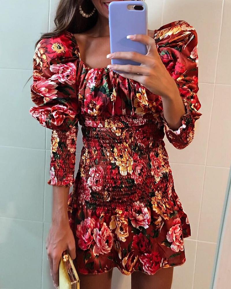 Random Floral Print Puff Sleeve Pleated Dress фото