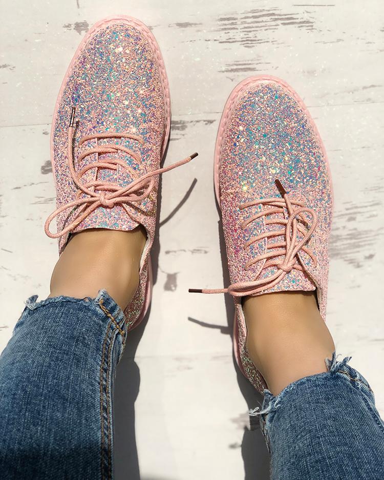 boutiquefeel / Brillantes lentejuelas con punta redonda zapatillas con cordones