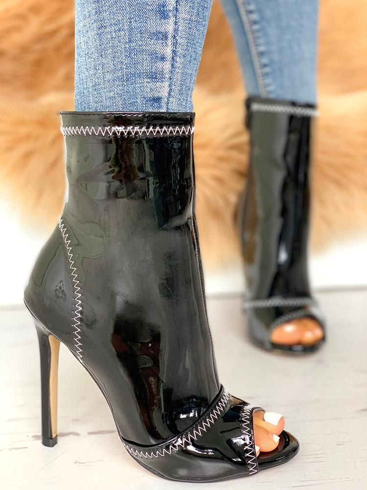Peep Toe Contrast Stitch Heeled Boot