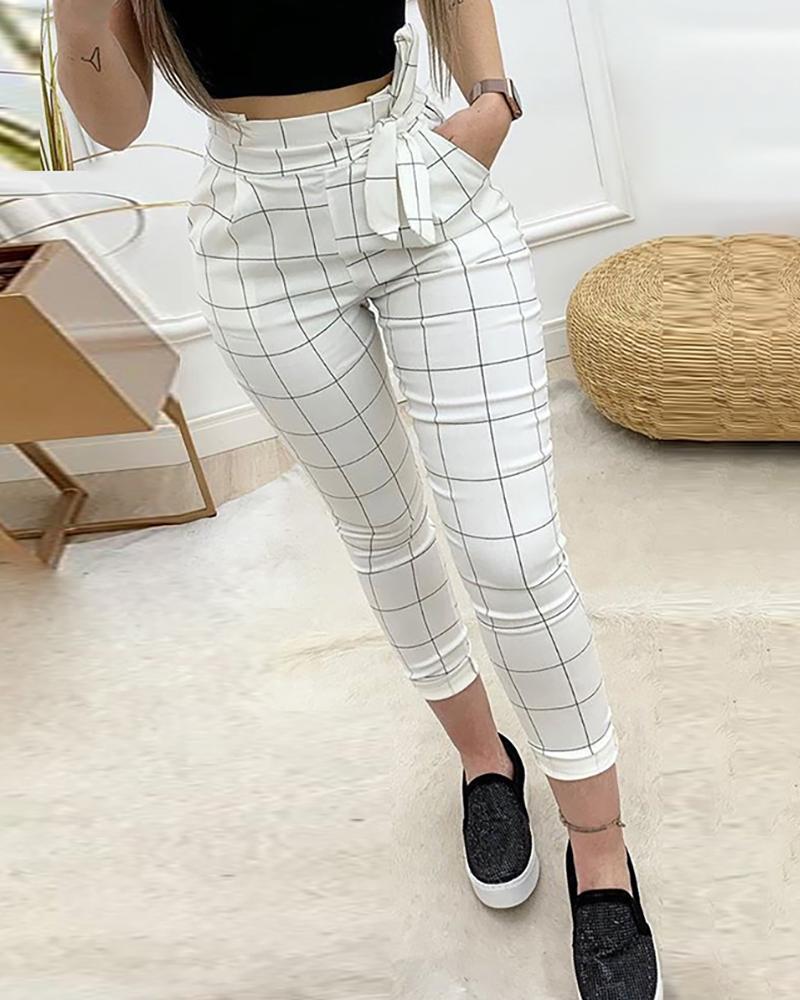 chicme / High Waist Grid Paperbag Waist Casual Pants