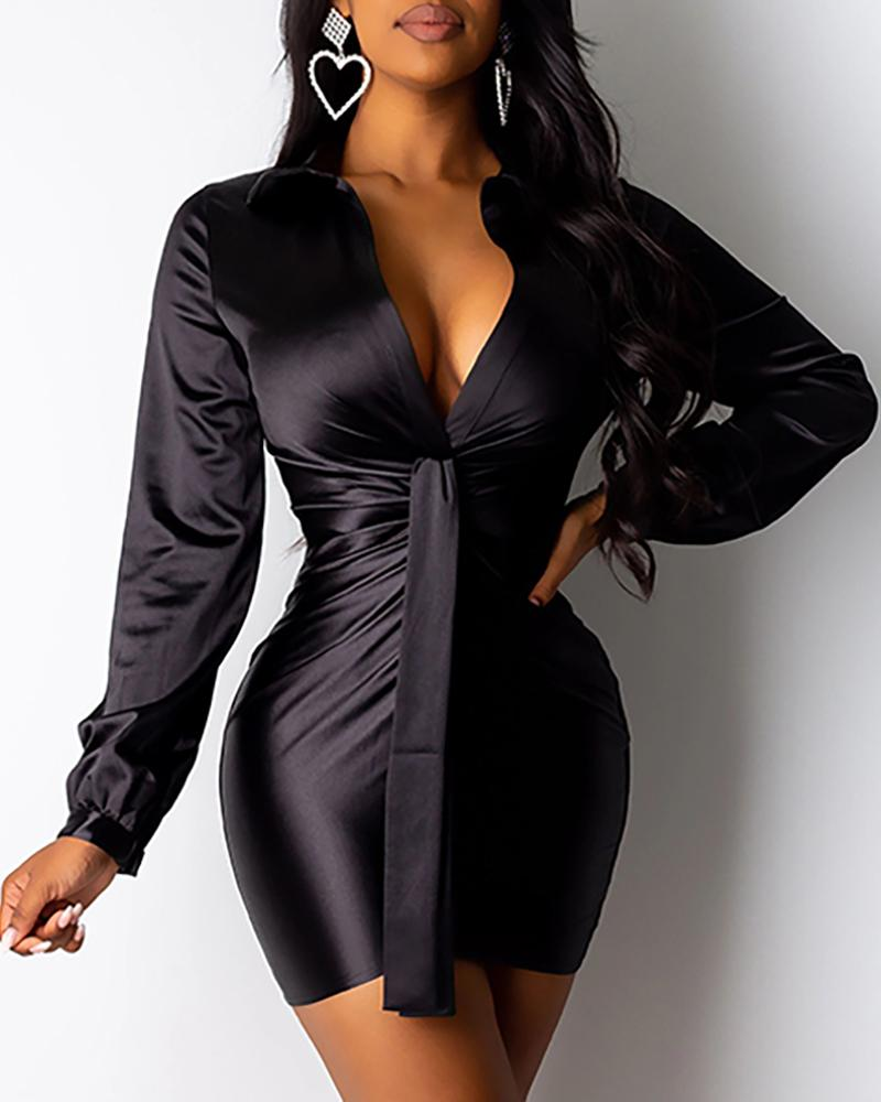 Solid Tight Waist Knotted Bodycon Dress фото