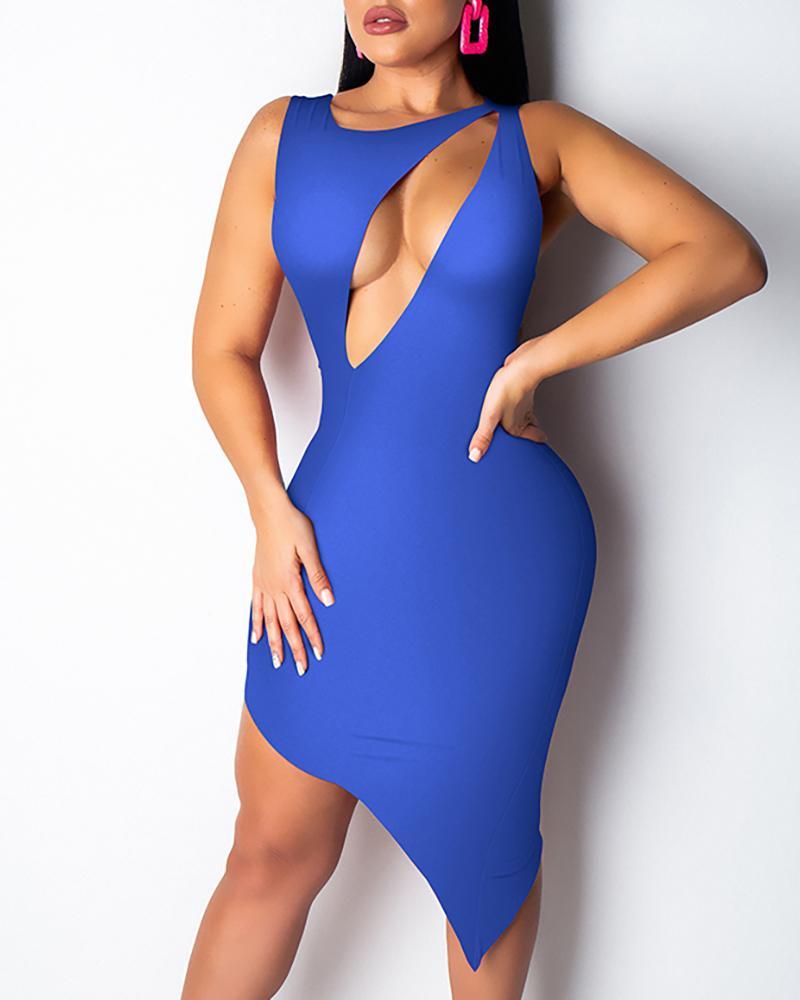 Solid Sleeveless Cut Out Asymmetrical Dress фото