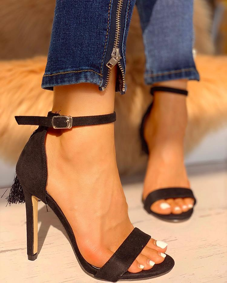 Leopard Tassel Detail Thin Heeled Sandals