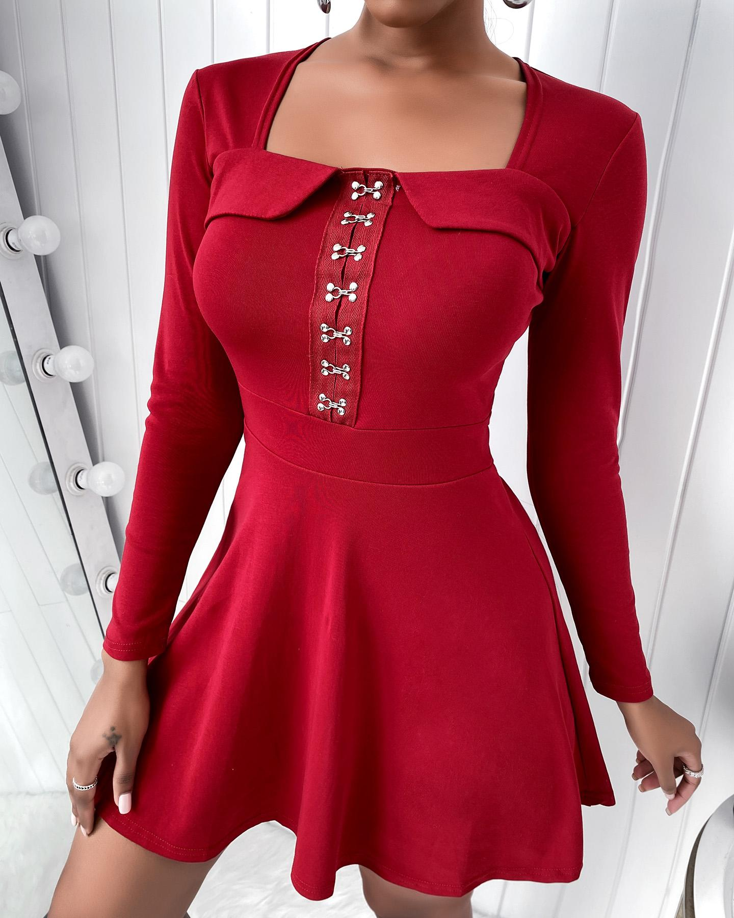 ivrose / Buckled Long Sleeve Casual Dress