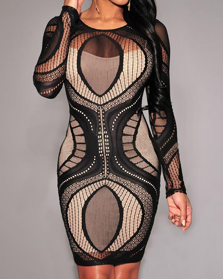Sexy Splicing Mesh Long Sleeve Bodycon Dress