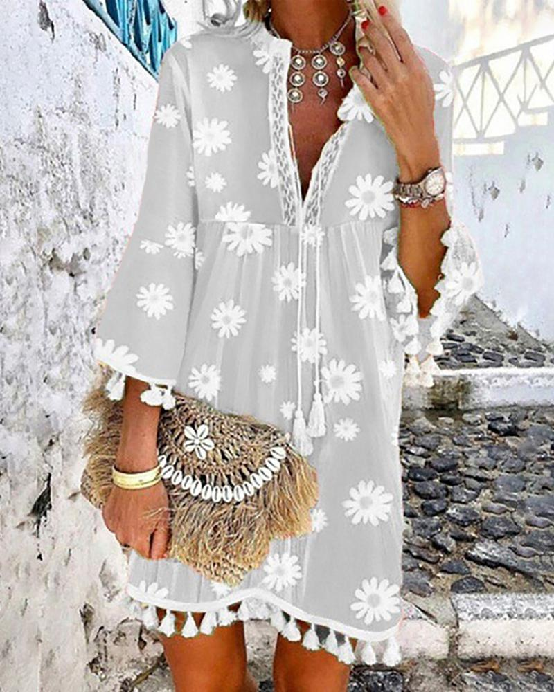 Daisy Print Tassel Design Casual Dress фото