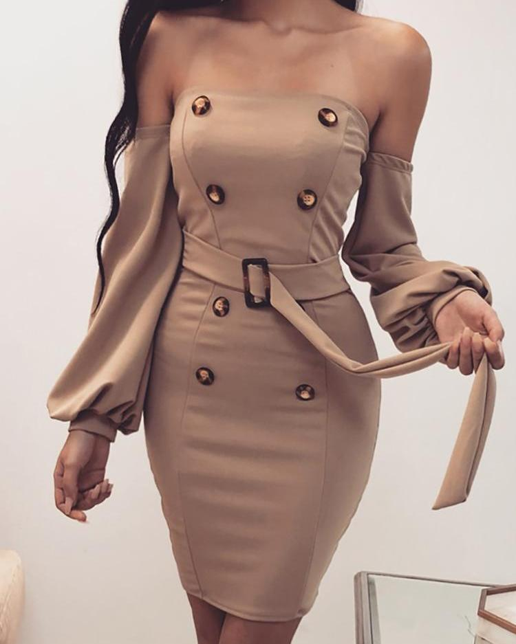 Off Shoulder Double Breasted Bodycon Dress фото