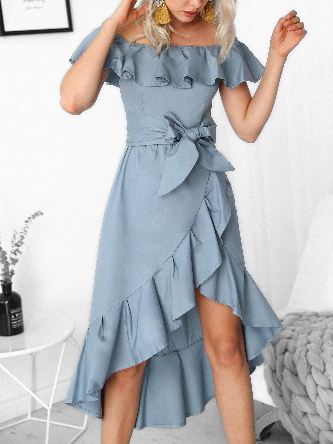 Off Shoulder Ruffles Belted Hi-Lo Hem Casaul Dress, Blue