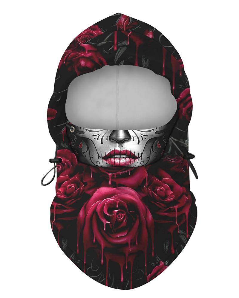 Floral Face Print Polar Fleece Hood Adjustable Face Bandana фото
