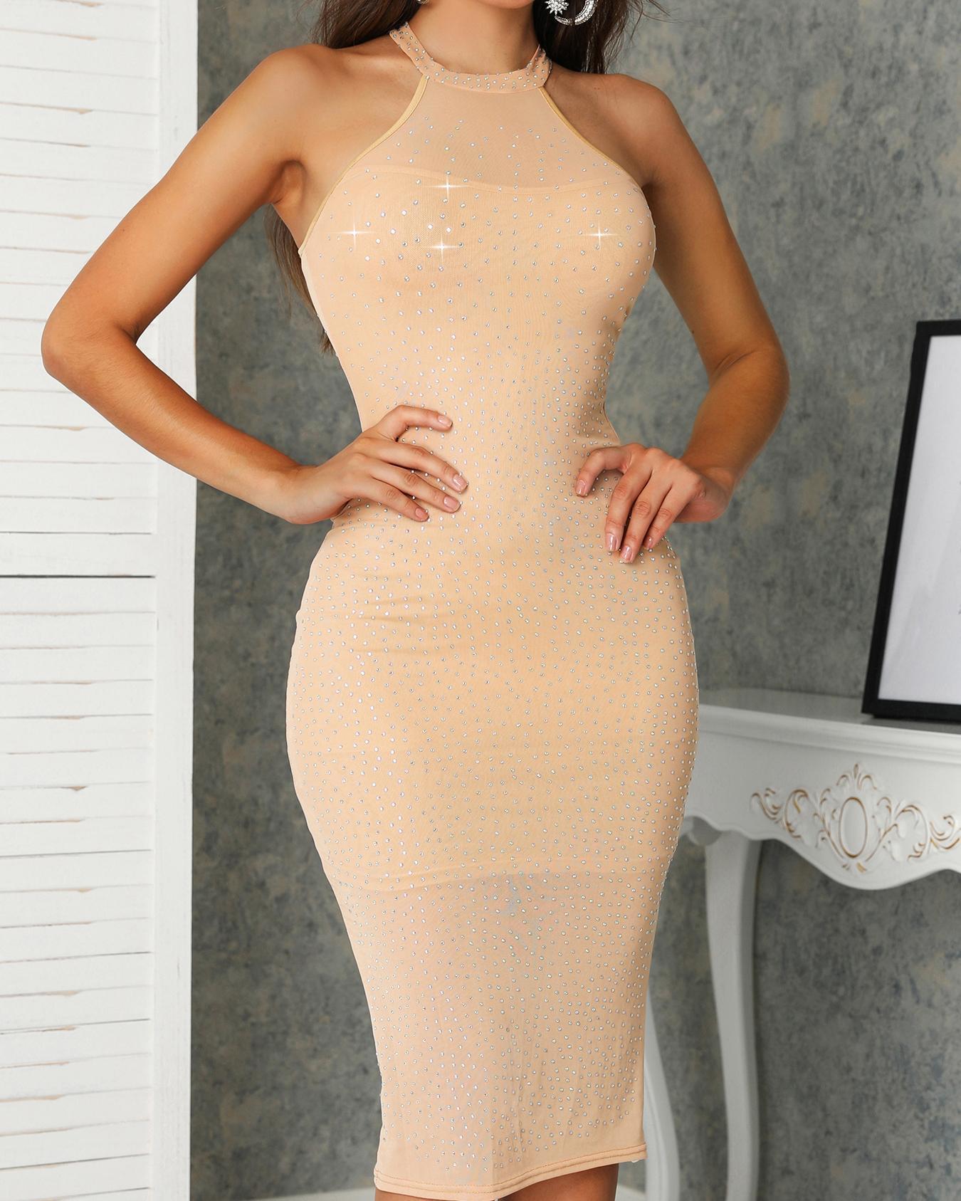 Hot Stamping Mock Neck Mesh Party Dress, Khaki