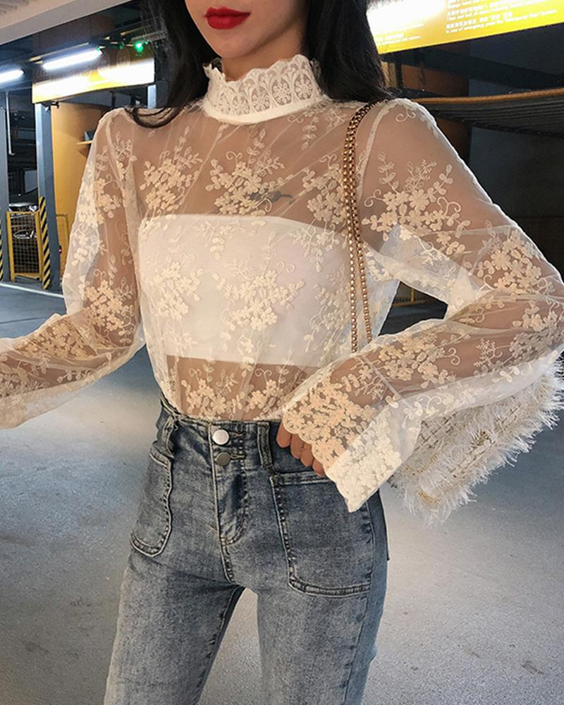 Perspective Eyelet Lace High Neck Top фото