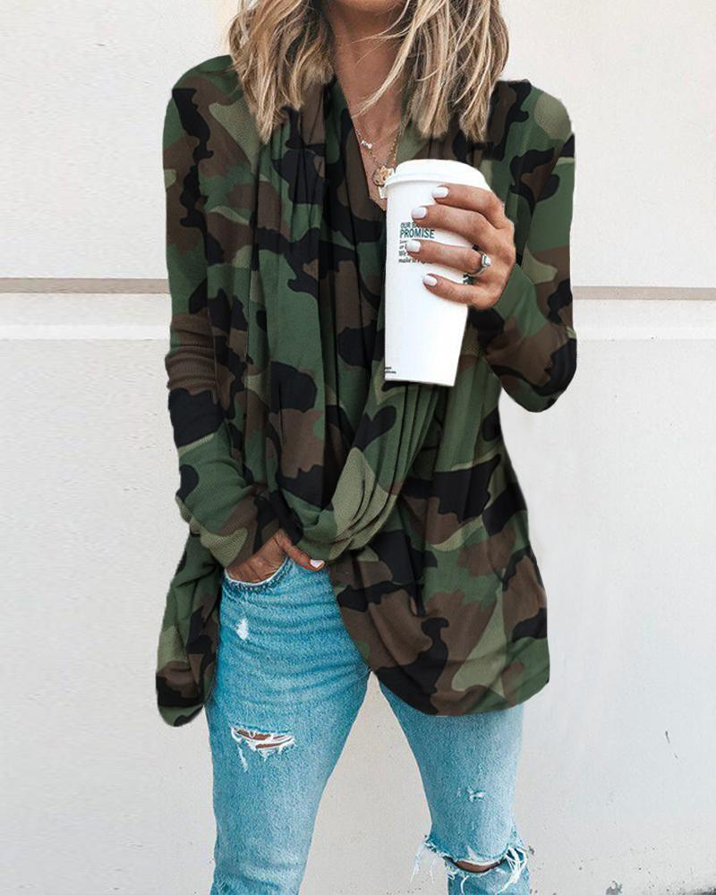 V Neck Camouflage Print Loose Blouse фото