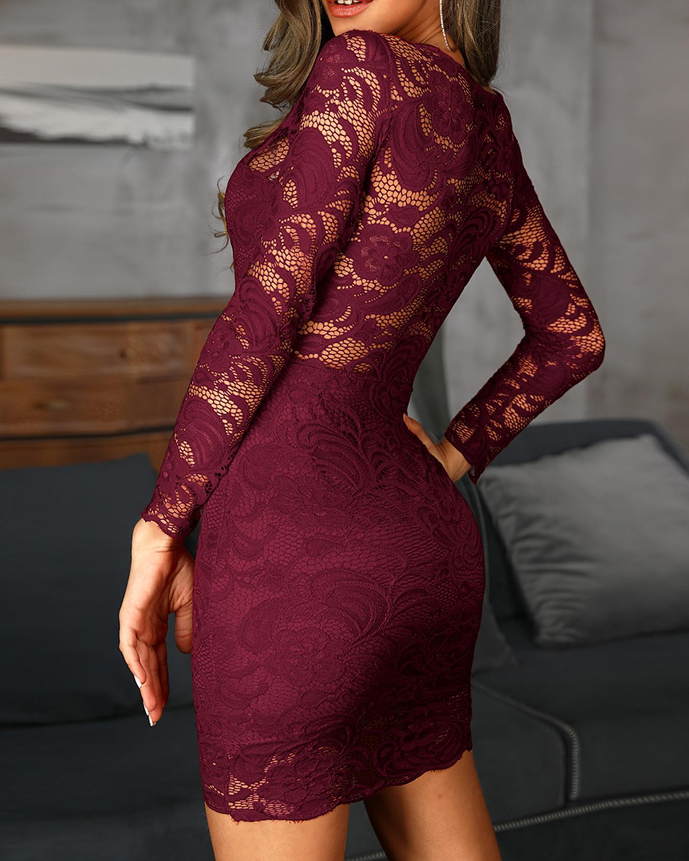 See Through Lace Overlay Mesh Dress фото