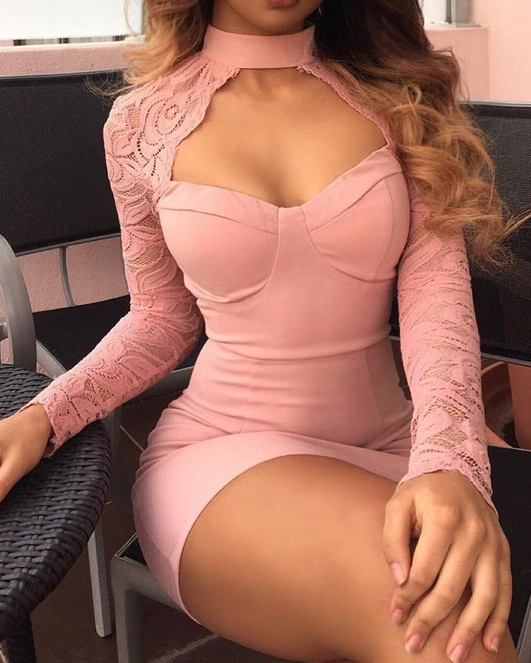 Sexy Lace Insert Cut Out Cocktail Party Mini Dress