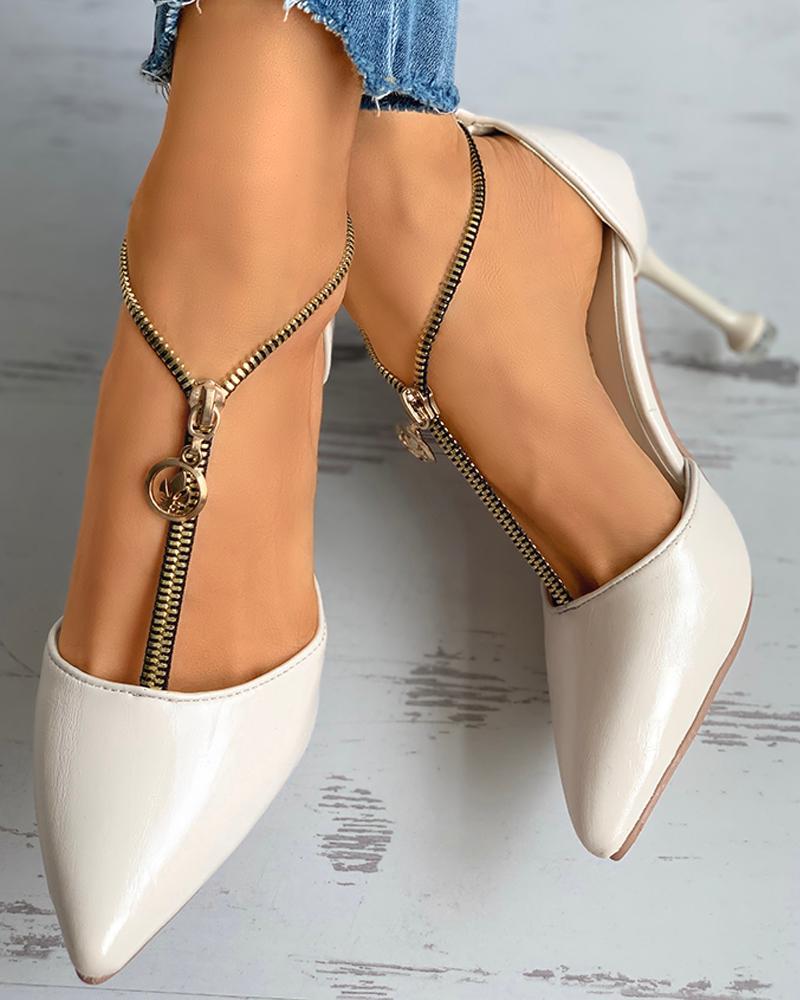 Zipper Design Pointed Toe Stiletto Heel фото