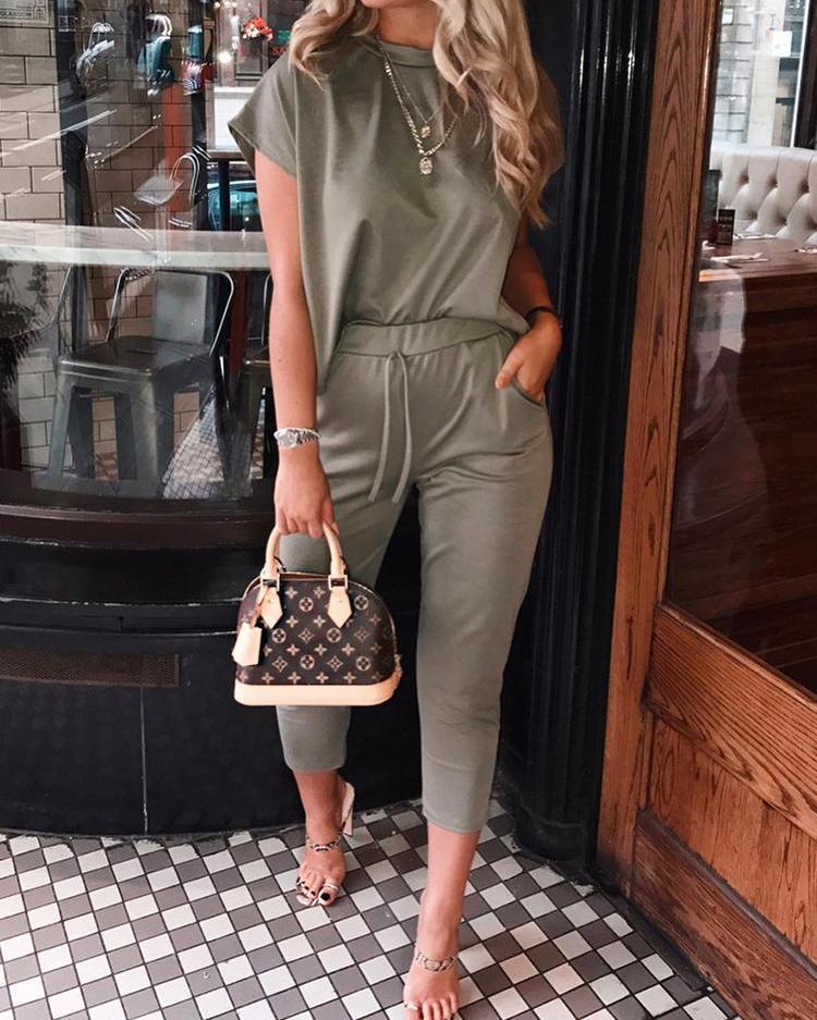 boutiquefeel / Solid Short Sleeve Top &Drawstring Pocket Deisgn Pant Sets