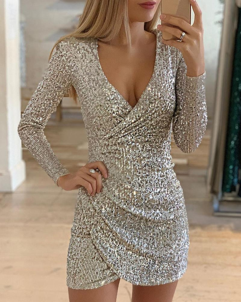Surplice Wrap Ruched Sequins Bodycon Dress фото