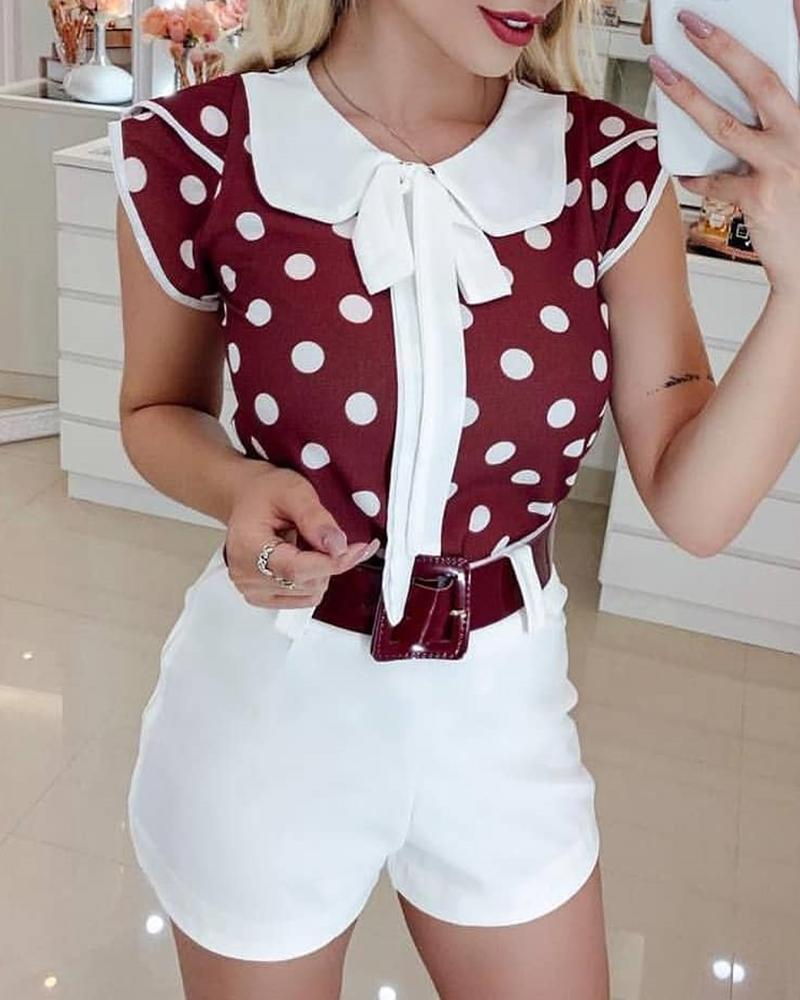 boutiquefeel / Peter Pan Collar Dot Imprimir Blusa Casual
